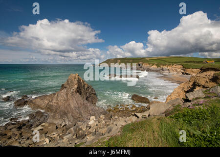 dollar cove a rocky inlet and beach on the lizard peninsula cornwall - Stock Photo
