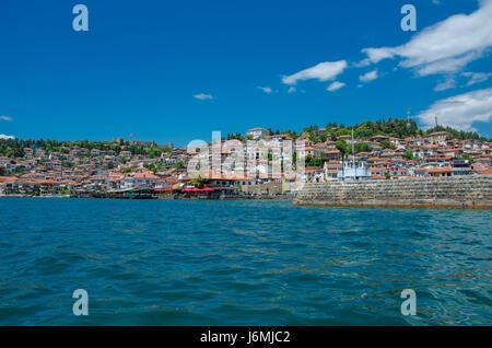 Ohrid Lake with old town Ohrid, Macedonia - Stock Photo