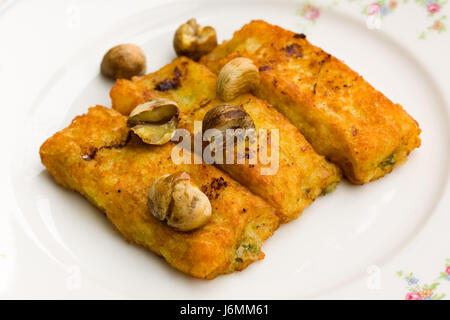 cheese - spinach croquettes with chestnuts - Stock Photo