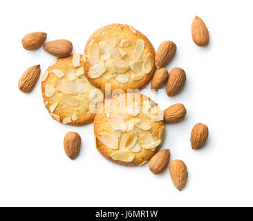 Sweet almond cookies isolated on white background. - Stock Photo