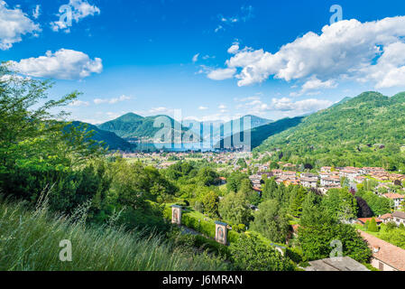 Lake Lugano, Porto Ceresio and Besano (Valceresio), Italy. Picturesque aerial view, in the background the Switzerland - Stock Photo