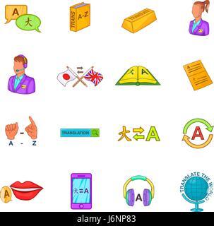Translator icons set cartoon style - Stock Photo