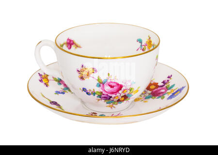 Vintage fine china tea cup and saucer isolated on white. - Stock Photo