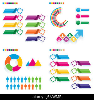 Business infographic template set. Vector illustration. Can be used for workflow layout, banner, diagram, number - Stock Photo