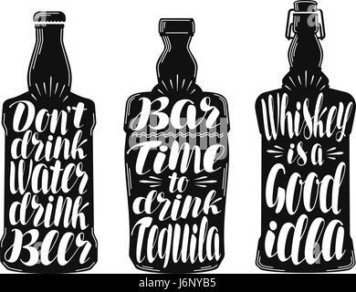 Alcohol drink, beverage label set. Collection decorative elements for menu restaurant or pub, bar. Lettering, calligraphy - Stock Photo
