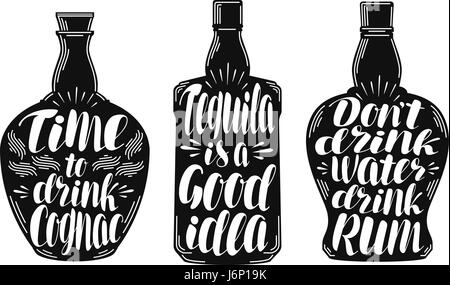 Alcoholic beverages, strong drink label set. Bottle, rum, cognac, tequila icon or logo. Lettering, calligraphy vector - Stock Photo