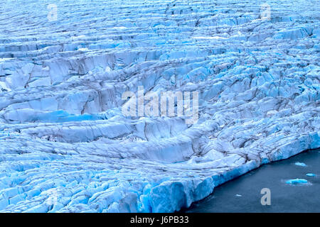 harsh glaciers of Arctic. Frontal zone (ablation) and surface covered centuries dust. Novaya Zemlya archipelago, - Stock Photo