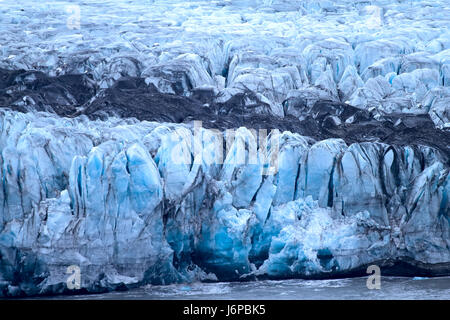 Harsh glaciers of Arctic. Live glacier. icefall and surface traces of glacial denudation. Novaya Zemlya archipelago, - Stock Photo