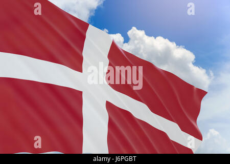 3D rendering of Denmark flag waving on blue sky background, Constitution Day observed on 5 June, This day is also - Stock Photo
