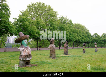 Paris,France- May 06,2017: Exhibition of sculptures in the park of Bercy - Stock Photo