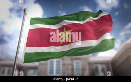 Suriname Flag 3D Rendering on Blue Sky Building Background - Stock Photo
