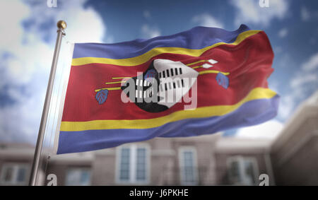 Swaziland Flag 3D Rendering on Blue Sky Building Background - Stock Photo