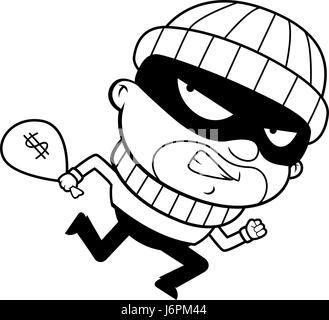 A cartoon burglar running away with a stolen money bag - Stock Photo
