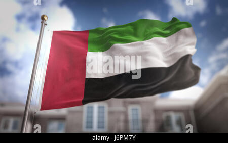 United Arab Emirates Flag 3D Rendering on Blue Sky Building Background - Stock Photo
