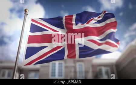 United Kingdom Flag 3D Rendering on Blue Sky Building Background - Stock Photo