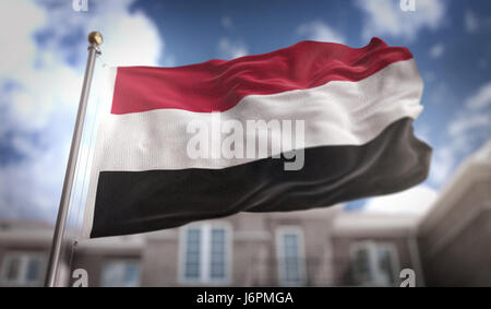 Yemen Flag 3D Rendering on Blue Sky Building Background - Stock Photo