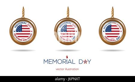 Medallions set on the chain for Memorial Day - Stock Photo