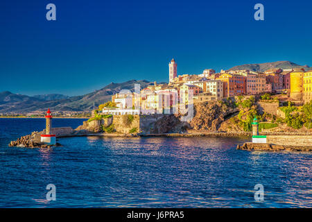 View to Bastia old city center, lighthouse and harbour. Bastia is second biggest town on Corsica, France, Europe. - Stock Photo