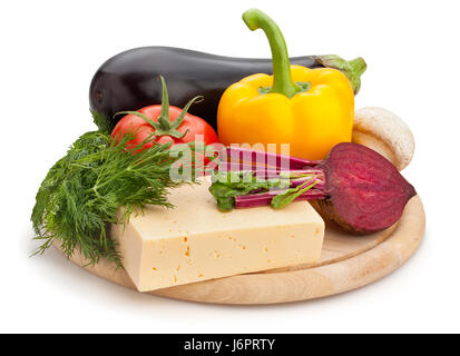 mixed vegetables cheese cutting board isolated - Stock Photo