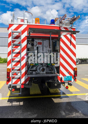 Mercedes Benz 1428AF water tender of a Swiss fire brigade. Rear view of with water pump controls and valves.