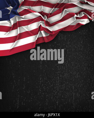 Liberia Flag Vintage on a Grunge Black Chalkboard With Space For Text - Stock Photo