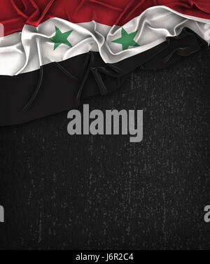 Syria Flag Vintage on a Grunge Black Chalkboard With Space For Text - Stock Photo