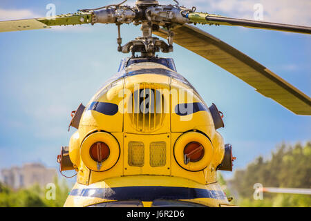 Front view of two turbines old helicopter. Front view - Stock Photo