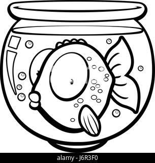 A cartoon goldfish in a glass bowl. - Stock Photo
