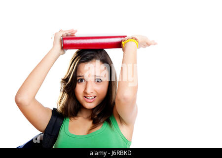 tired books teenager student stress young younger school educational - Stock Photo
