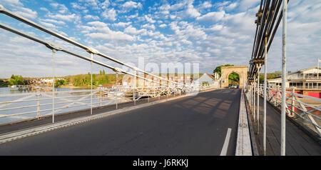Marlow Bridge view at Marlow in Buckinghamshire - Stock Photo