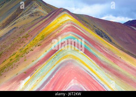 Vinicunca Montana de Siete Colores , or Rainbow Mountain, Pitumarca, Peru - Stock Photo