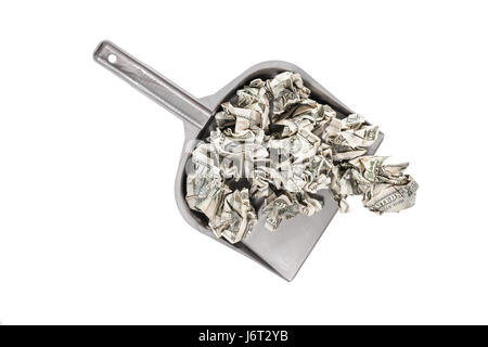 Crumpled hundred dollar bills in a scoop top view isolated on a white background - Stock Photo