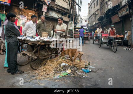 Delhi, India - 10 November 2012 - Man Selling fish from a pushcart in the middle of  street. - Stock Photo