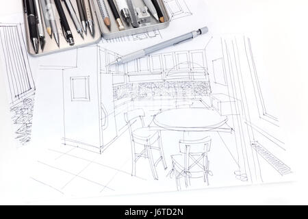 Freehand draft blueprint of interior and furniture for living room hand drawn sketch of kitchen interior and furniture blueprint with drawing tools stock photo malvernweather Choice Image