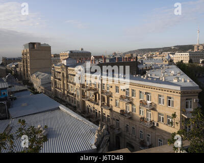 Rooftop panorama view of the inner city in Baku, capital of Azerbaijan - Stock Photo
