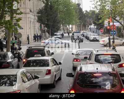 Traffic in Baku Azerbaijan - Stock Photo