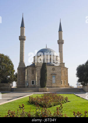 Mosque of the Martyrs or Turkish Mosque, built in 1990s in Ottoman style near  Martyrs' Lane in the capital of Azerbaijan - Stock Photo