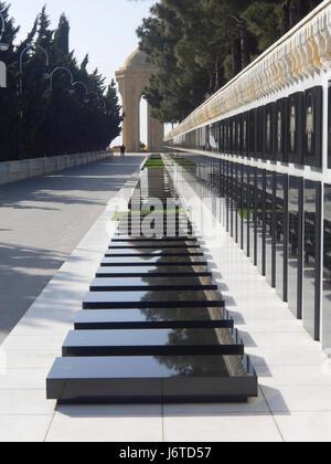 Martyrs' Lane, cemetery and memorial in Baku Azerbaijan, has  graves from Black January 1990 and Nagorno-Karabakh - Stock Photo