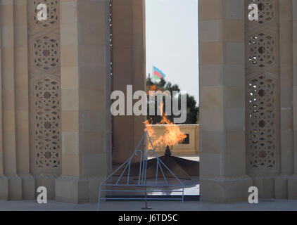 The Eternal Flame memorial at the Martyrs' Lane cemetery and park in Baku Azerbaijan, - Stock Photo