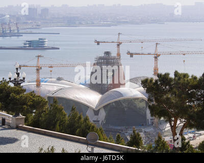 Baku, the capital city of Azerbaijan, on the shore of the Caspian sea, view of  the building of a new shopping centre - Stock Photo