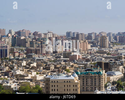 Baku, the capital city of Azerbaijan, on the shore of the Caspian sea, view of inner city highrises  and the old - Stock Photo