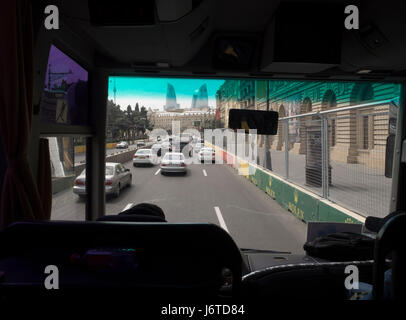 Traffic in Baku Azerbaijan - Stock Photo