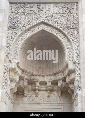 Palace of the Shirvanshahs, a Unesco world heritage site in the old walled city in Baku Azerbaijan, decorations - Stock Photo