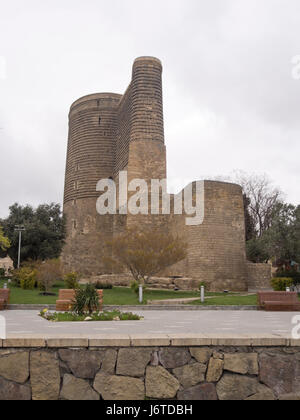 The Maiden Tower in Baku old town, Icheri sheher, area in the inner city surrounded by fortification walls, a Unesco - Stock Photo