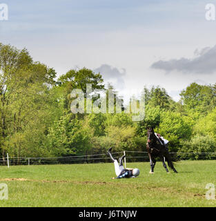 Rockingham Castle, Corby, UK. 21st May, 2017. A rider and her horse part company after hitting a triple log obstacle - Stock Photo