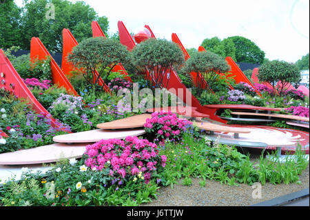 London, UK. 22nd May, 2017. The Silk Road Garden (designed by Laurie Chetwood and Patrick Collins), one of the beautiful - Stock Photo