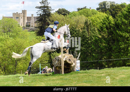 Rockingham Castle, Corby, UK. 21st May, 2017. Jack Ashworth and his horse Kafka clear a log obstacle with Rockingham - Stock Photo