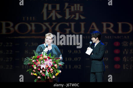 Beijing, China. 22nd May, 2017. Musical manager Theresa Rose Baker (L) speaks at the press conference of stage musical - Stock Photo