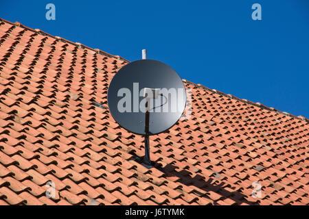 satellite dish on old roof - Stock Photo