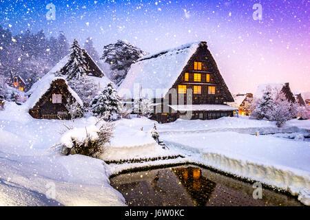 Shirakawago, Japan historic winter village. - Stock Photo